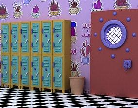 3D model Cartoon classroom trash can big iron door cabinet