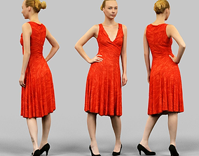 Girl in Red Dress 3D model