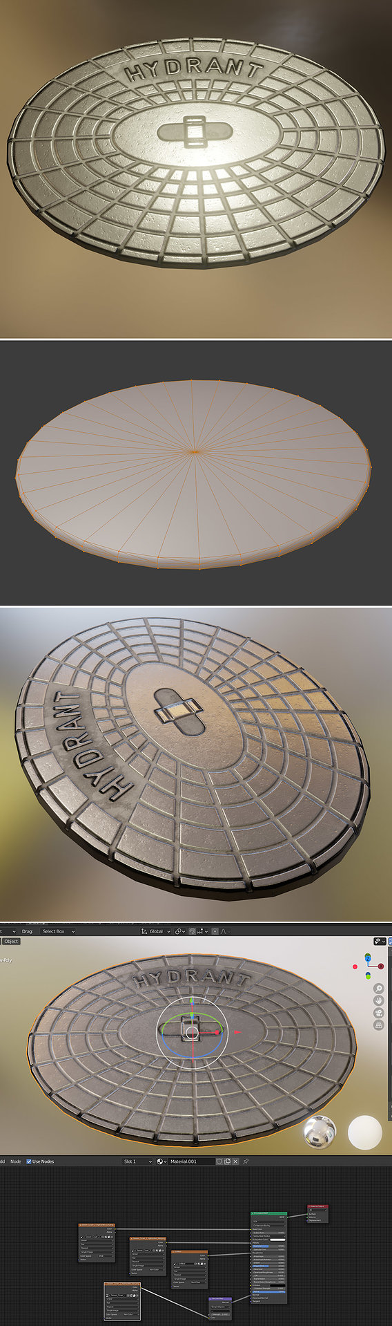 Sewer Cover 2 Hydranten Low-Poly (Blender-2.91 Eevee)