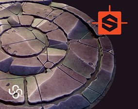 Stylized Ground with Circular Pattern - 3D model 1