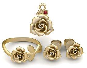 3D print model 1937 Set Rose Jewelry
