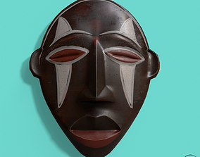 African Mask Pbr 3D asset low-poly