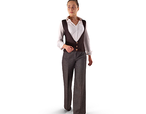 3D asset Casual Woman Walking