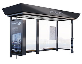 Bus stop 3D model game-ready electronics