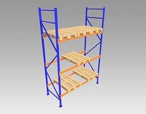 Shelves with Euro pallet 3D