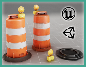 low-poly Traffic Drum Cone - CLEAN-DIRTY - VR Game 2