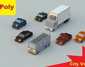 Low-Poly Rigged Vehicles Pack 3D asset
