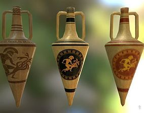3D asset 3 Low poly Ancient amphoras
