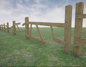3D model Nailed wooden Fence