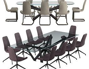 Cattelan italia Flamingo chair Marathon table set 3D