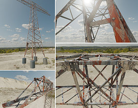 3D model Transmission Tower 18 Meter Rusty Version