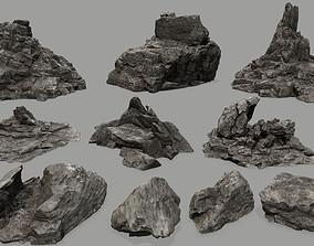 rock set 3D model game-ready