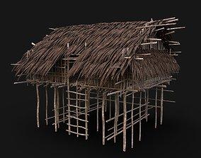 3D asset NEXTGEN TRIBAL JUNGLE PRIMAL HUT HOUSE REED TREE