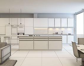 3D model White Kitchen And Living Room