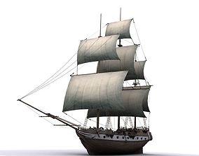 Warship brig 3D model