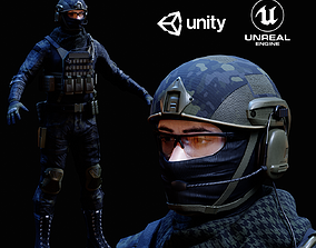 Military Multicam Black Soldier Unreal and Unity 3D asset