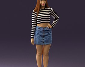 Woman in striped blouse 0405 3D Print Ready