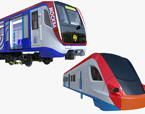 Moscow metro and Ivolga train 3D model metrowagonmash