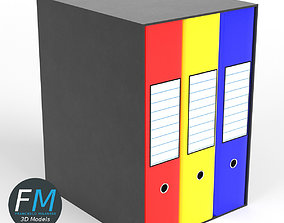 Case with three ring binders 3D model