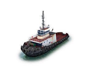 Tugboat 3D model low-poly