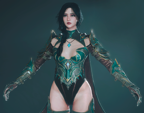 3D asset rigged Assassin Girl