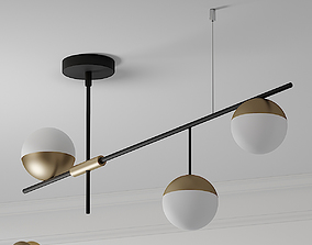 Mid Century Modern 3 Light Linear Ceiling Light ON-OFF 3D