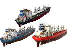 Pack Bulk carrier ships 3D model handysize