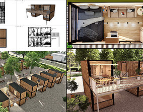 3D model container hotel modul combo k2
