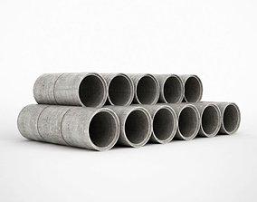 Grey Concrete Pipes 3D model
