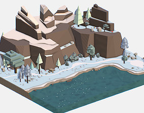 Isometric style lake winter mountain landscape 3D asset