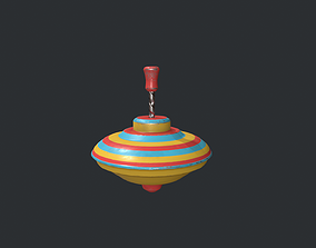 Striped Spinning Top 3D asset