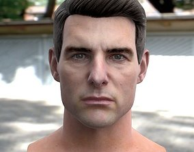 3d model Tom Cruise head low-poly