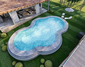 luxury swimming pool backyard design on contours 3d