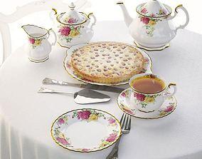 3D Floral Design Classic Service With Pie
