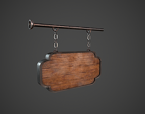3D asset Wooden Sign 2