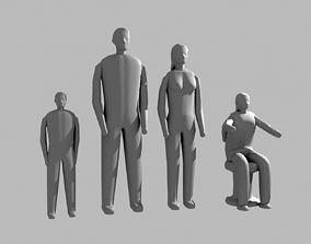 Small low detalied people 3D print model