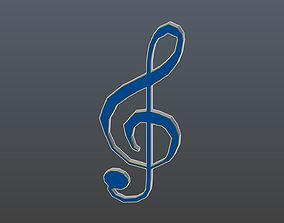 3D model Low poly treble clef