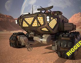 rigged Sci-Fi Mars Rover II 3D model