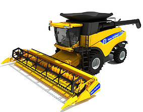 Yellow New Holland Combine 3D model