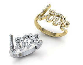 Love ring Love inscription with diamonds printable