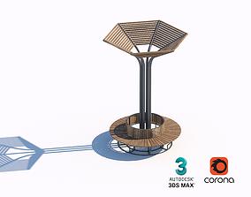 park 3D wooden sunshade bench