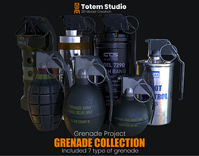 3D asset low-poly Grenade Project Collection Package