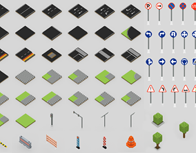 3D model Voxel Road Sections And Signs Pack