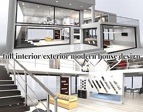 3D model modern house exterior interior design