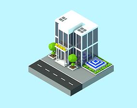 Bank building caroon 3D asset