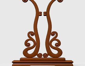 Chinese Traditional Palace Hand Fan Wooden Stand 3D model