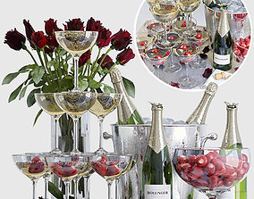 Champagne decorative set 3D