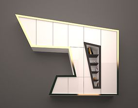 3D model The contemporary bookcase with gold edges