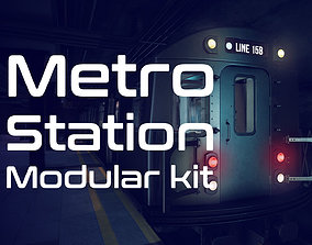Metro station modular kit 3D asset