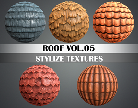 3D asset Stylized Roof Vol 05 - Hand Painted Texture